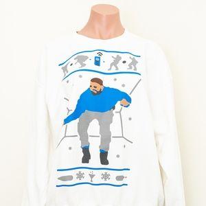 Drake Hotline Bling White Novelty Sweater L